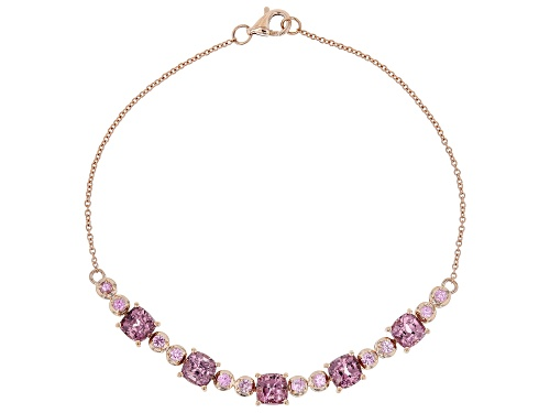 Photo of 3.50ctw Square Cushion Pink Spinel With .41ctw Round Pink Sapphire 10k Rose Gold Bracelet. - Size 7.25