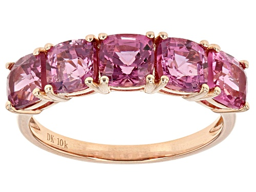 Photo of 3.50ctw Sqaure Cushion Burmese Pink Spinel 10k Rose Gold 5 Stone Ring. - Size 6