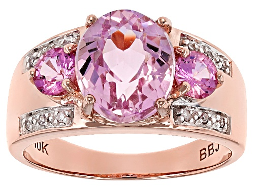 Photo of 2.50ct Oval Kunzite, .51ctw Round Pink Sapphire And .04ctw White Diamond Accent 10k Rose Gold Ring. - Size 8