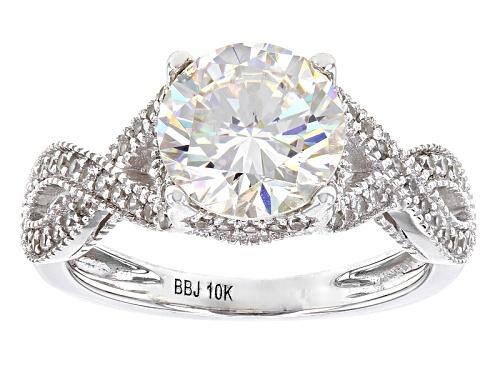 Photo of 2.93ct Round Fabulite Strontium Titante With .40ctw Round White Zircon 10k White Gold Ring - Size 7