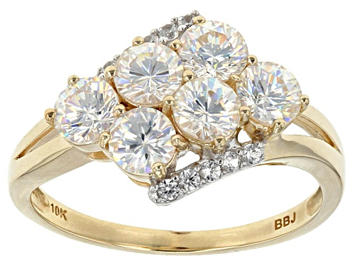 Photo of 2.14ctw Round Lab Created Strontium Titanate With .08ctw Round White Zircon 10k Gold 6-Stone Ring. - Size 7