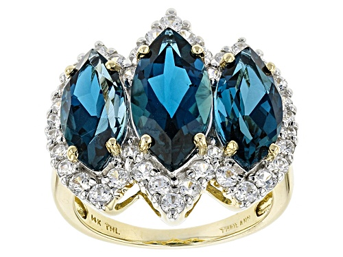 Photo of 6.65ctw Marquise London Blue Topaz And 1.58ctw Round White Zircon 14k Yellow Gold 3-Stone Ring - Size 8