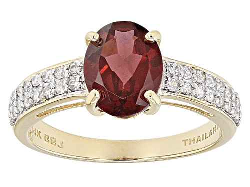 Photo of 1.89ct Oval Masasi Bordeaux Garnet And .24ctw Round White Zircon 14k Yellow Gold Ring - Size 8