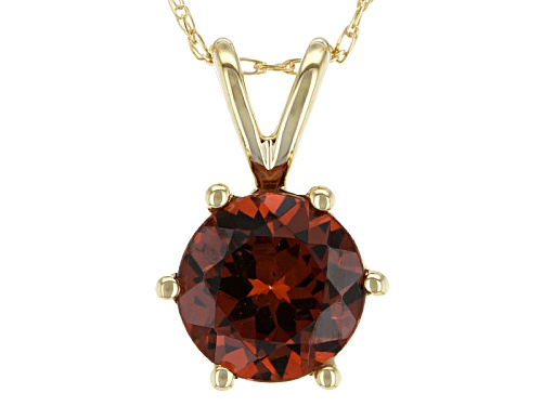 Photo of 1.45ct Round Malaya Garnet 14k Yellow Gold Solitaire Pendant With Chain