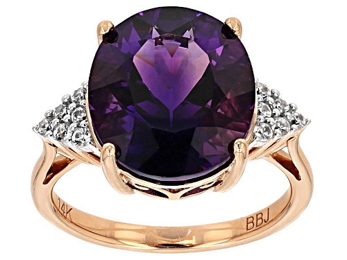 Photo of 5.58ct Oval Uruguayan Amethyst And .20ctw Round White Zircon 14k Rose Gold Ring - Size 8