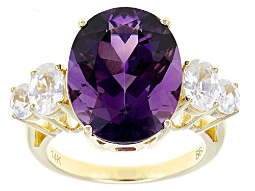 6.63ct Oval  Uruguay Amethyst With 1.56ctw Oval White Zircon 14k Yellow Gold Ring - Size 8