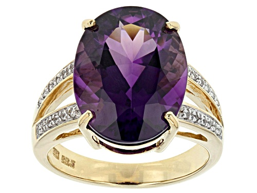 Photo of 6.63ct Oval Uruguyan Amethyst And .10ctw Round White Zircon 14k Yellow Gold Ring - Size 6