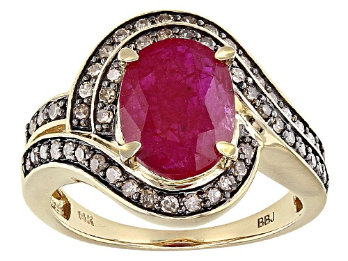 Photo of 2.13ct Oval Mozambique Ruby With .37ctw Round Champagne Diamonds 14k Yellow Gold Ring. - Size 7