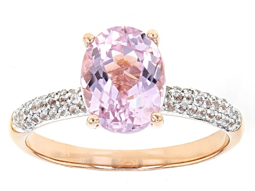 Photo of 2.12ct Oval Pink Kunzite And .21ctw Round White Zircon 10k Rose Gold Ring - Size 9
