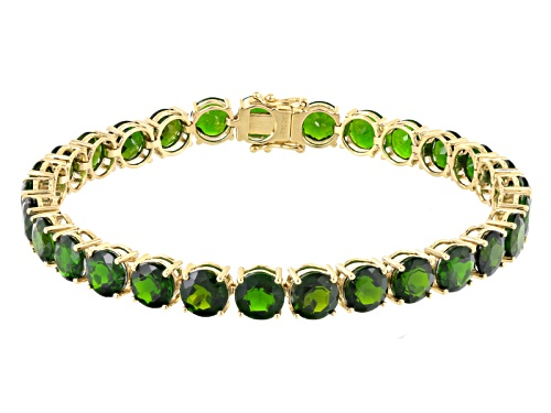 Photo of 25.5ctw Round Russian Chrome Diopside 14k Yellow Gold Tennis Bracelet - Size 7