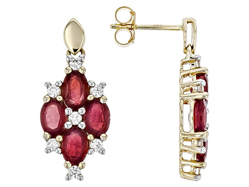 Photo of 5.67ctw Oval  Mahaleo® Ruby With .78ctw Round White Zircon 14k Yellow Gold Dangle Earrings