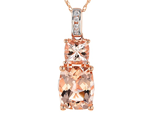 Photo of 1.97ctw Cushion Cor-De-Rosa Morganite™ And .15ctw White Zircon 14k Rose Gold Pendant W/Chain. Web