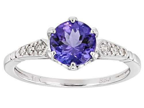 1.15ct Round Tanzanite With .04ctw Round White Diamond Accent Rhodium Over 14k White Gold Ring - Size 9