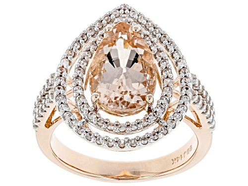 Photo of 2.22ct Pear Shape Cor-de-Rosa Morganite™ With .56ctw Round White Zircon 14k Rose Gold Ring - Size 8