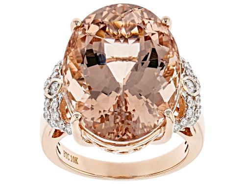 18.07Ct Oval Cor De Rosa Morganite With 0.22ctw White Diamond 10k Rose Gold Ring - Size 7