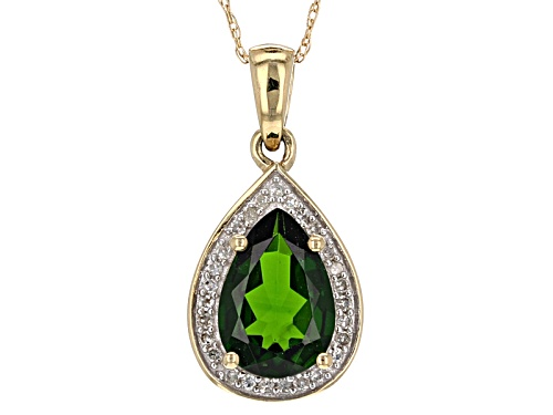 Photo of 1.85ct Chrome Diopside With .10ctw White Diamonds 14k Yellow Gold Pendant With Chain