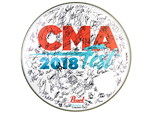 Photo of Back The Beat: 2018 CMA Fest Autographed Drumhead From Breakout Stage At Walk Of Fame Park