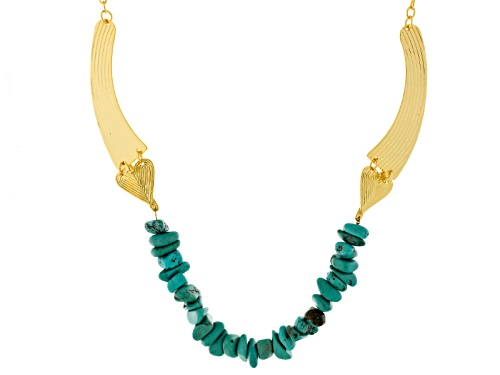 "Artisan Gem Collection Of Colombia™ Blue Magnesite Nugget 18k Gold Over Bronze ""Condor"" Necklace"