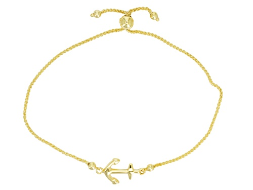 Photo of 10k Yellow Gold Anchor Station Sliding Adjustable 8 1/2 Inch Bracelet - Size 8.5