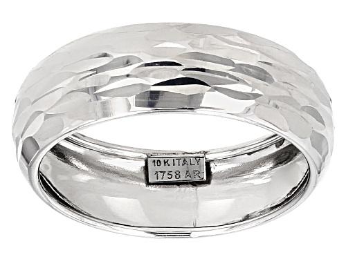 Photo of 10k White Gold Diamond Cut Band Ring - Size 8