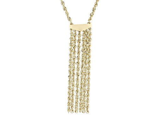 Photo of 10k Yellow Gold Rope Link Tassel 18 Inch Necklace - Size 18