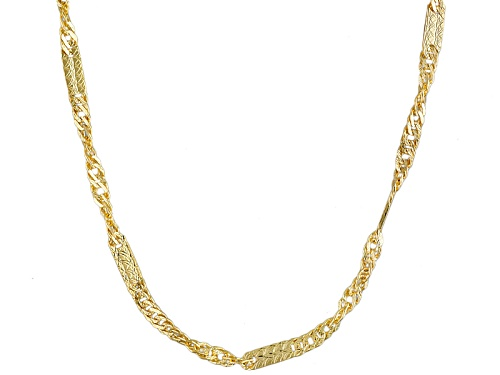 Photo of 10k Yellow Gold Mirror Stations Twisted Curb Link 20 Inch Necklace - Size 20