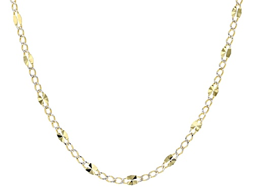 Photo of 10k Yellow Gold And Rhodium Over 10k Yellow Gold Designer Curb Link 18 Inch Necklace - Size 18