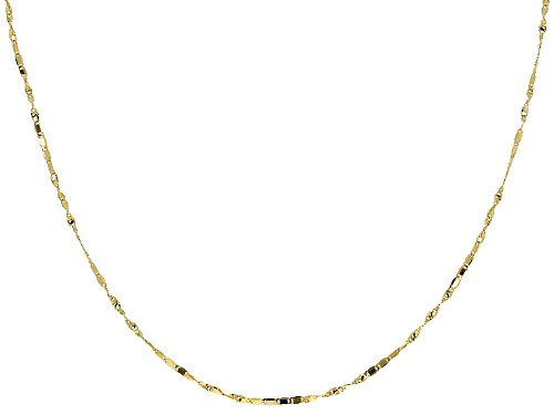Photo of 10k Yellow Gold 1mm Twisted Flat Cable Link 18 Inch Chain Necklace - Size 18