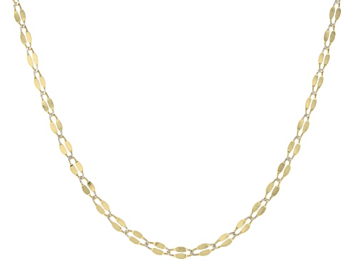 Photo of 10k Yellow Gold And Rhodium Over 10k Yellow Gold 2mm Flat Cable Link 24 Inch Necklace - Size 24