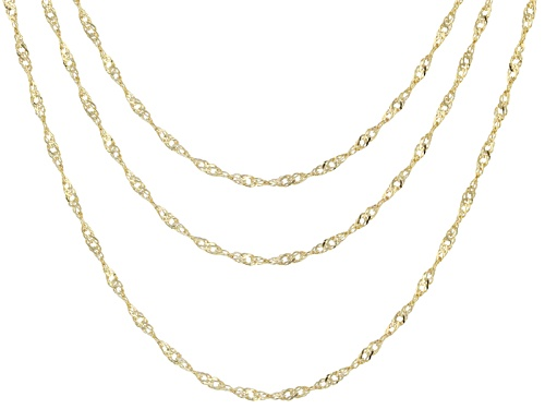 Photo of 10k Yellow Gold Singapore Link 18 Inch, 20 Inch, And 24 Inch Chain Necklace Set Of Three