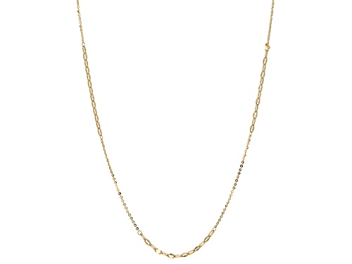 Photo of 10k Yellow Gold Mirror Oval Rolo Link With Curb Link 24 Inch Necklace - Size 24
