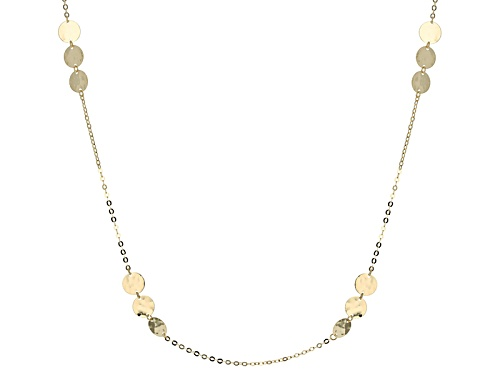Photo of 10k Yellow Gold Hammered Circle Station 24 Inch Necklace - Size 24