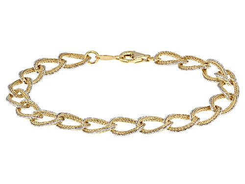Photo of 10k Yellow Gold With Rhodium Over 10k Yellow Gold Textured Curb Link 7 1/4 Inch Bracelet - Size 7.25
