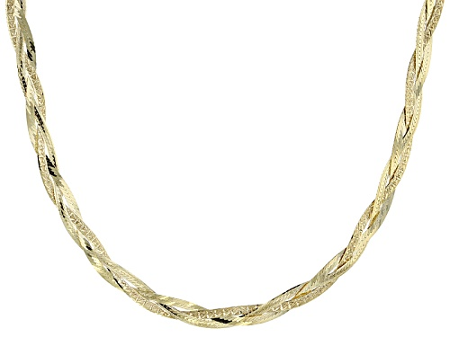 Photo of 10k Yellow Gold Braided Herringbone Link 20 Inch Necklace - Size 20