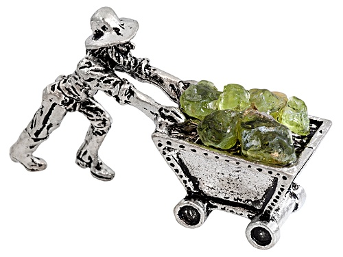 """Photo of Peridot And Pewter Miner Cart Figure 1.5""""L X 3/4""""W X 1""""H"""