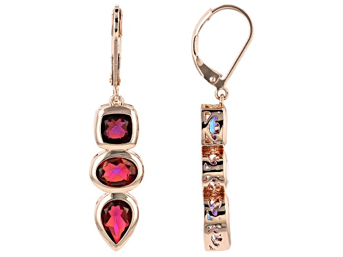 Timna Jewelry Collection™ 5.62ctw Savage Fire™ Quartz 3-Stone Copper Dangle Earrings