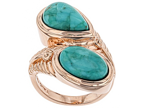 Photo of Timna Jewelry Collection™  12x8mm Oval and Pear Shape Turquoise Copper Feather Bypass Ring - Size 9