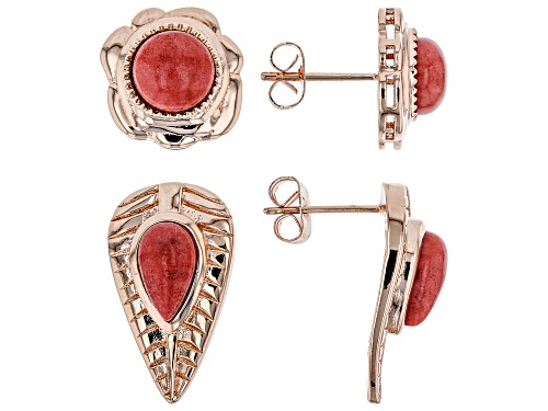 Photo of Timna Jewelry Collection™ 10x6mm Pear Shape & 8mm Round Pink Coral Copper Earrings. Set of 2 pairs