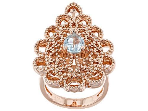 Photo of Timna Jewelry Collection™ 1.10ct Pear Shape Glacier   Topaz(TM) Solitaire, Copper Filigree Ring - Size 8