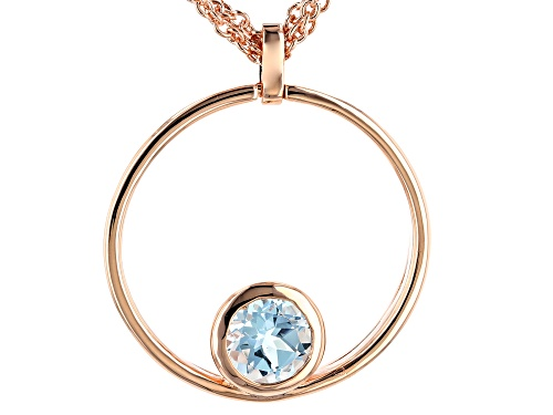 Photo of Timna Jewelry Collection™1.98ct Round Glacier Topaz(TM) Solitaire Copper Pendant W/3 Strand Chain