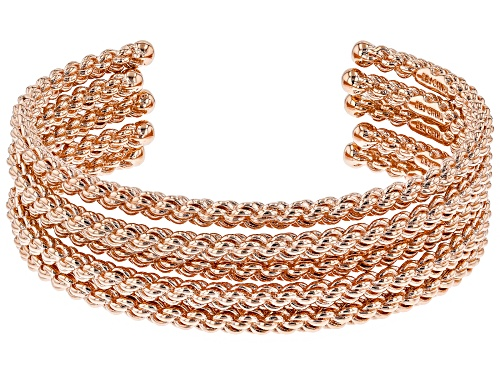 Photo of Timna Jewelry Collection™ Chain Design Stackable Copper Cuff Bracelets. Set Of 5. - Size 8