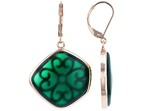 Photo of Timna Jewelry Collection™ 23x22mm Fancy Green Onyx Cabochon Solitaire Copper Dangle Earrings