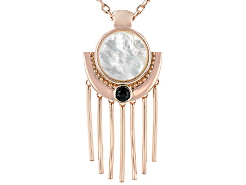 Photo of Timna Jewelry Collection™ 17.00mm Mother-Of- Pearl & .51ctw Black Spinel Copper Pendant W/Chain