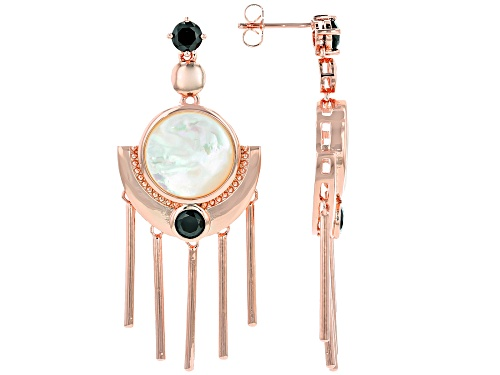 Photo of Timna Jewelry Collection™ 14.00mm White Mother-Of-Pearl & 1.77ctw Black Spinel Copper Earrings