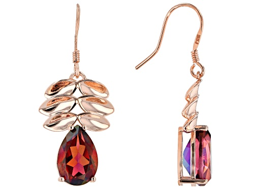 Photo of Timna Jewelry Collection™ 4.81ctw Pear Shape Savage Fire™ Quartz Copper Leaf Design Dangle Earrings