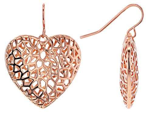 Photo of Timna Jewelry Collection™ Copper Filigree Heart Dangle Earrings