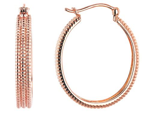Photo of Timna Jewelry Collection™  3-Row Copper Textured Hoop Earrings