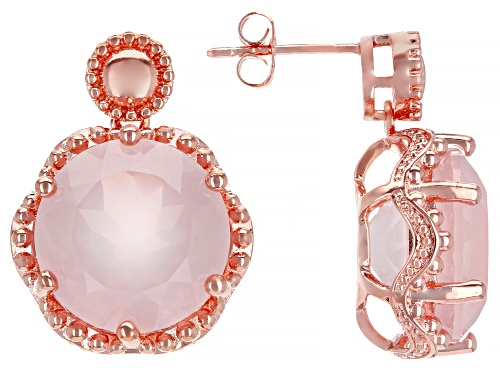 Photo of Timna Jewelry Collection™ 14mm Round Rose Quartz Solitaire, Copper Dangle Earrings