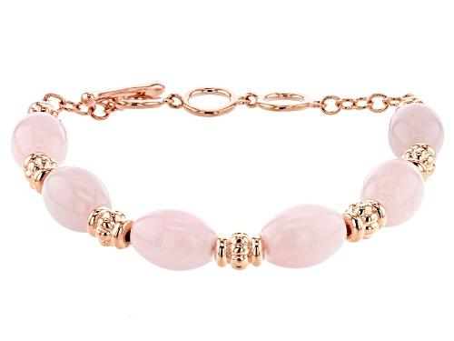 Photo of Timna Jewelry Collection™ 14x10mm Barrel Shape Rose Quartz Beads Copper Station Bracelet - Size 7.5