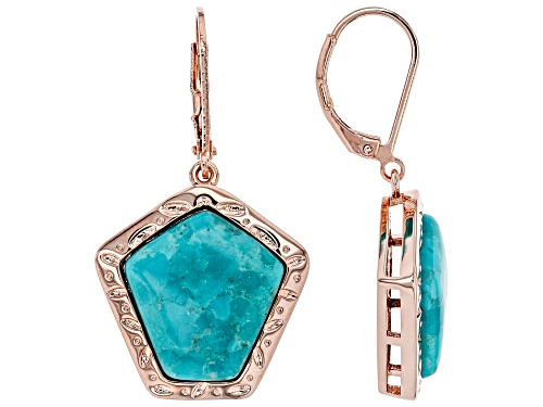 Photo of Timna Jewelry Collection™ 16x15.5mm Pentagon Shape Turquoise Solitaire Copper Dangle Earrings